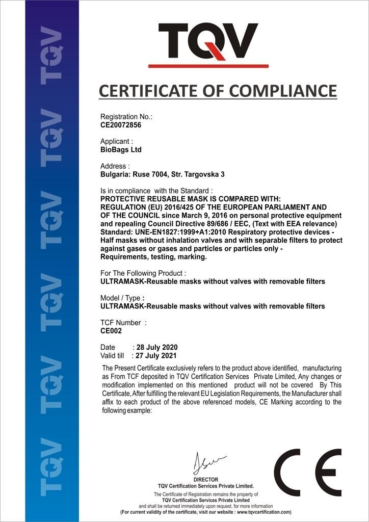 Certificado Mascarilla Ultramask
